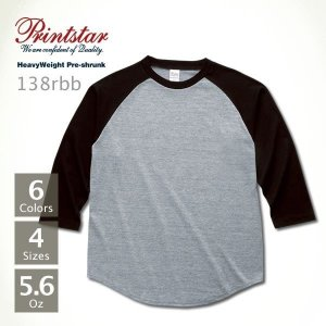 ラグラン 7分袖 Tシャツ メンズ 無地 Printstar(プリントスター) 5.6オンス ラグラン ベースボール Tシャツ 138rbb|t-shirtst