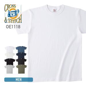 Tシャツ メンズ レディース 男女兼用 CROSS STITCH(クロススティッチ)   オープンエンドマックスウェイト バインダーネックTシャツ oe1118 ホワイト ブラック 等|t-shirtst