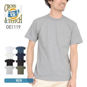 Tシャツ メンズ レディース 兼用 CROSS STITCH(クロススティッチ)  オープンエンド マックスウェイト バインダーネック ポケットTシャツ oe1119 ホワイト等|t-shirtst