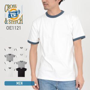 Tシャツ メンズ レディース 兼用 CROSS STITCH(クロススティッチ)  オープンエンド マックスウェイト リンガーTシャツ oe1121 ホワイト ブラック 等|t-shirtst