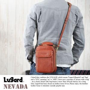 青木鞄 Lugard 本革ショルダーポーチ メンズ レザー 日本製 2way 縦型|t-style