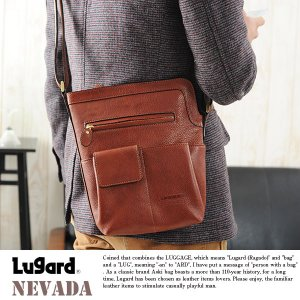 青木鞄 Lugard 本革ミニショルダーバッグ メンズ 日本製 レザー 縦型|t-style