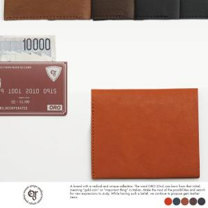 二つ折り財布 メンズ 薄い レザー 本革 小銭入れなし 日本製 ORO|t-style