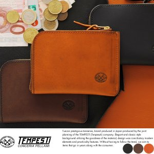 TEMPESTI L字ファスナー短財布 メンズ 本革 日本製 小銭入れあり|t-style