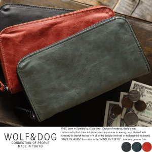 長財布 ラウンドファスナー WOLF&DOG ホワイトホース メンズ ロングウォレット 大容量 日本製 極上なめし|t-style