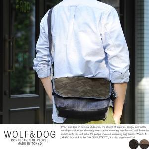 WOLF&DOG デニム×迷彩柄 フラップミニショルダーバッグ メンズ 日本製|t-style
