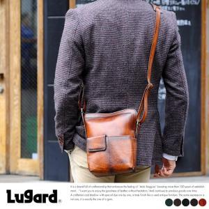 青木鞄 Lugard 本革ミニショルダーバッグ メンズ 日本製 レザー 縦型 t-style