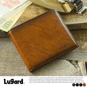 青木鞄 Lugard 二つ折り財布 小銭入れなし メンズ 本革 レザー|t-style