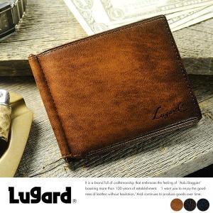 二つ折り財布 メンズ 本革 マネークリップ 革 小銭入れ付き 青木鞄 Lugard G-3 薄い 札入れ|t-style