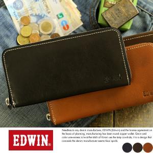 EDWIN エドウィン ラウンドファスナー長財布 メンズ 本革 小銭入れあり|t-style