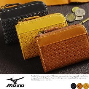 Mizuno ミズノ L字ファスナー短財布 メンズ 型押しグローブレザー|t-style