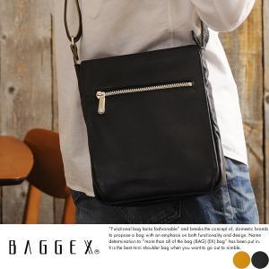 BAGGEX 本革ミニショルダーバッグ メンズ 日本製 A5 縦型 薄マチ|t-style