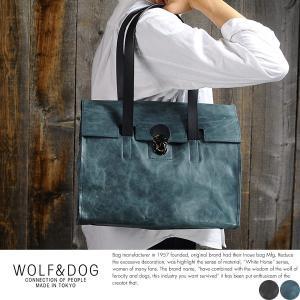 WOLF&DOG フラップトートバッグ メンズ 日本製 馬革 本革 レザー A4|t-style