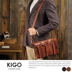 KIGO ハンドガンショルダーバッグ メンズ 本革 日本製 ブルハイド t-style