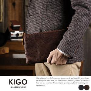 KIGO オーストリッチ 2wayクラッチバッグ メンズ 本革 日本製 t-style