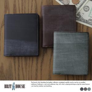 英国伝統のブライドルレザーを日本の職人が仕立てた上質な二つ折り財布。小銭入れを薄く設計したスリムタイ...
