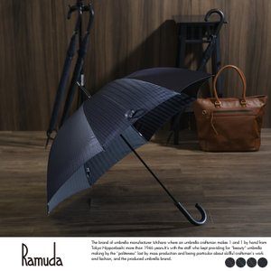 Ramuda メンズ 傘 65cm 甲州織 ジャガード ヘリンボーン ストライプ 8本骨 牛革持ち手 UV加工 t-style
