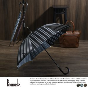 Ramuda メンズ 傘 65cm 甲州織 レジメン ストライプ 8本骨 鉄木持ち手 UV加工 細巻き t-style