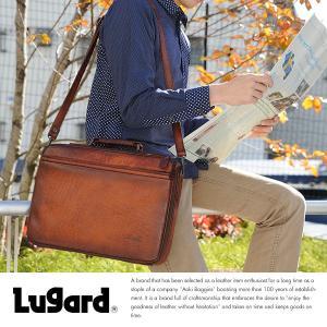 青木鞄 ブリーフケース メンズ 本革 通勤 ビジネスバッグ Lugard シャドー牛革 G-3 ブラウン 日本製|t-style