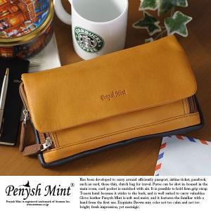 トラベルクラッチバッグ メンズ ポーチ 本革 レザー Penysh Mint|t-style