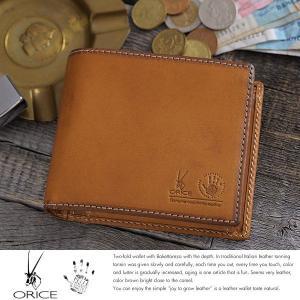 二つ折り財布 メンズ 本革 box型小銭入れ ORICE|t-style