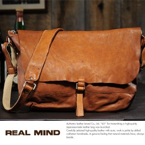 REAL MIND 馬革フラップショルダーバッグ 製品染め革 メンズ 日本製 A4|t-style