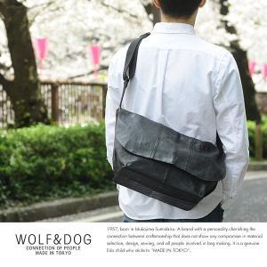 WOLF&DOG 馬革ショルダーバッグ ホワイトホース ブラック W&D1035-BK|t-style