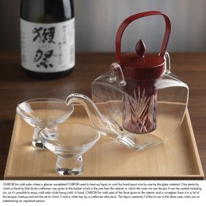 江戸切子 ガラス製ちろり 朱 盃揃い 箱盆付き|t-style