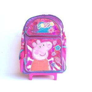 New Peppa ピッグ シャイン ピンク ラージ Rolling Backpack(1642) ...