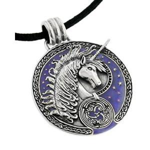 Courtney Davis スターリング シルバー パープル Celtic Unicorn Medallion ペンダント ネック(海外取寄せ品)|t2mart