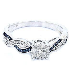 ブルー ダイヤモンド Engagement リング 1/5c...