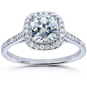 クッション-カット Moissanite & ダイヤモンド Engagement リング 1 1/3 Carat (ctw) in (海外取寄せ品)|t2mart