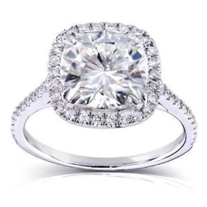 クッション-カット Moissanite and ダイヤモンド Engagement リング 3 Carat (ctw) in 14(海外取寄せ品)|t2mart