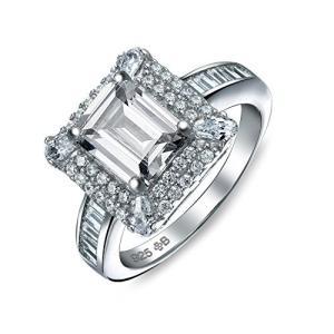 ブリング ジュエリー Bling Jewelry 925 シルバー ヴィンテージ スタイル エメラルド カット CZ Engagem(海外取寄せ品) t2mart