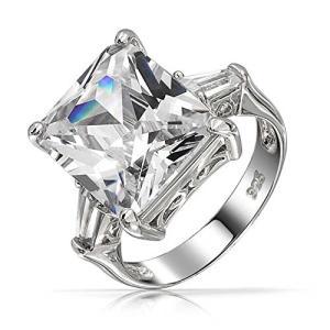 ブリング ジュエリー Bling Jewelry エメラルド カット CZ Engagement リング バゲット Side ストー(海外取寄せ品)|t2mart