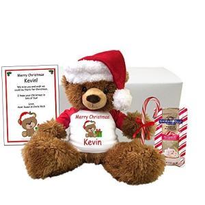 """クリスマス Teddy クマ パーソナライズ ギフト セット - 14"""" ブラウン ファジー クマ ..."""