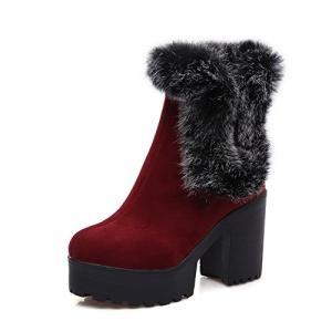 AdeeSu レディース Chunky Heels プラットフォーム ファー Ornament レッド フロスト ブーツ - 4.5 B海外取寄せ品|t2mart