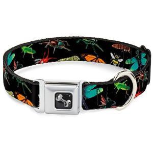 バックル-ダウン Insects Scattered Closeup ブラック Dog Collar...
