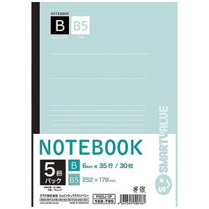 ジョインテックス セミB5ノート 5冊パック B罫 P002J-5P tabaki3