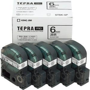 キングジム PROテープ ST6K-5P 透明に黒文字 6mm 5個