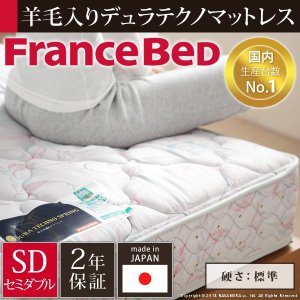 フランスベッド デュラテクノスプリングマットレス セミダブル マットレスのみ ベッド マットレス スプリング 日本製 国産 (M直送/送料無料)|tabaki3