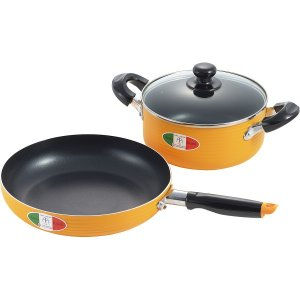 ●商品内容:両手鍋20cm=容量約2.5L(深さ約8.5cm)、フライパン26cm=深さ約5cm●ガ...