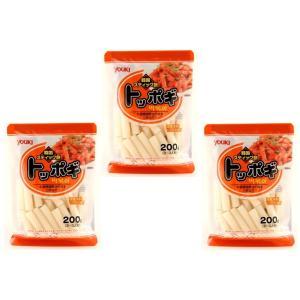 ユウキ食品 国産トッポギ  200g×3袋   【YOUKI 国内産 韓国食材 国内産米粉 韓国餅】|tabemon-dikara