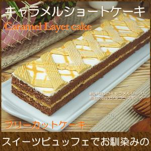 キャラメル生クリームをショコラスポンジでサンドしたケーキ。スポンジの柔らかい食感とチョコのビターな味...