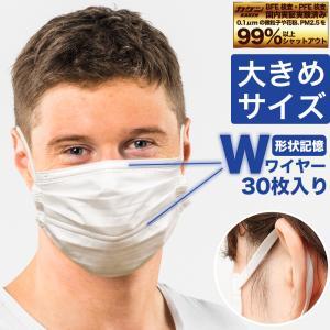 マスク 不織布 大きめ 大きいサイズ Wワイヤー 息がしやすい オメガ構造 個包装 個別包装 30枚...