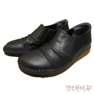【インコルジェ 8303 ブラック】くしゅっとかわいい脱ぎ履きらくらくシューズ|tabikutsuya