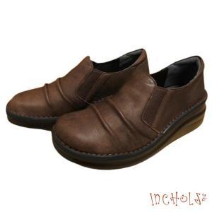 【インコルジェ 8303 ダークブラウン】くしゅっとかわいい脱ぎ履きらくらくシューズ|tabikutsuya