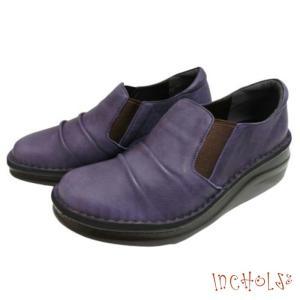 【インコルジェ 8303 ダークパープル】くしゅっとかわいい脱ぎ履きらくらくシューズ|tabikutsuya