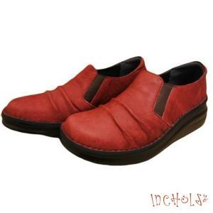 【インコルジェ8303 レッド】くしゅっとかわいい脱ぎ履きらくらくシューズ|tabikutsuya