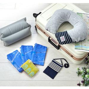 海外旅行の必需品をお得な4点セットにしました。 ○フットレストハンガー ○ネックピロー ○衣類圧縮袋...